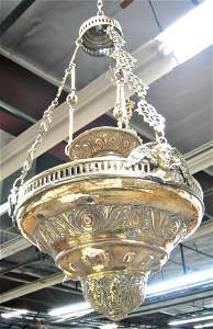 3135: Brass and silver repousse Church  fixture