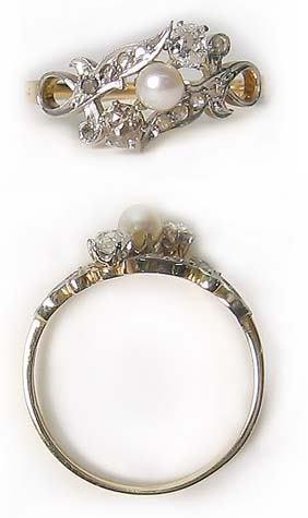 5459: Antique Gold Platinum Diamond Ring