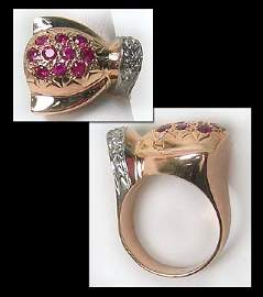 6412: Vintage Gold Diamond Retro Dinner Ring
