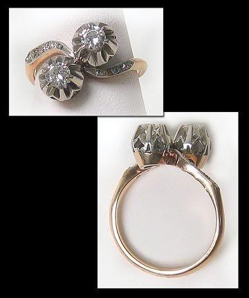 6447: Nice Retro Gold Diamond Dinner Ring
