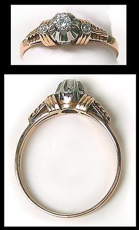7406: Platinum Gold Diamond Solitaire Ring