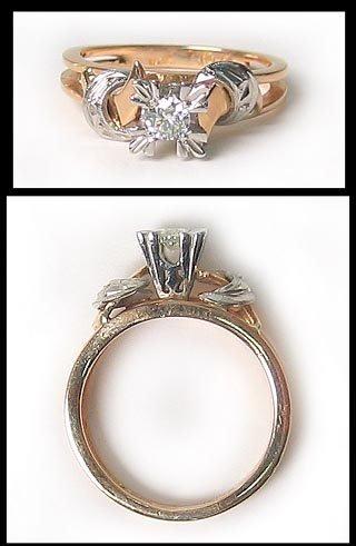 7407: Antique Gold Platinum Diamond Ring