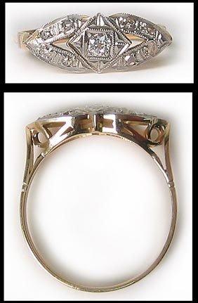 7410: Vintage Gold Platinum Diamond Dinner Ring