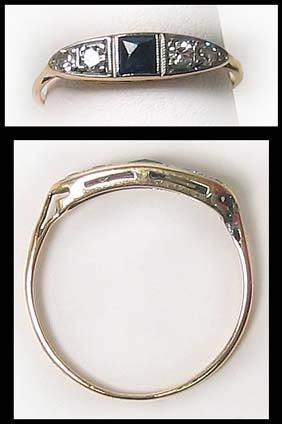 395: Antique  Diamond Sapphire Gold Ring
