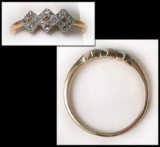401: Antique hallmark gold diamond dinner ring