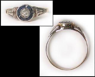 402: Antique Gold Platinum Diamond Ring