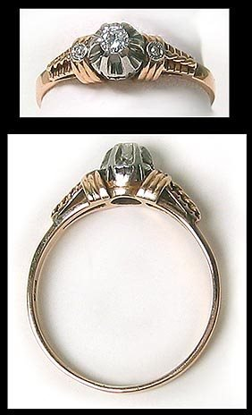 406: Platinum Gold Diamond Solitaire Ring