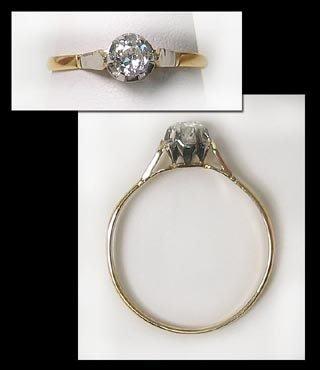 411: Gold Diamond Dinner Solitaire Ring