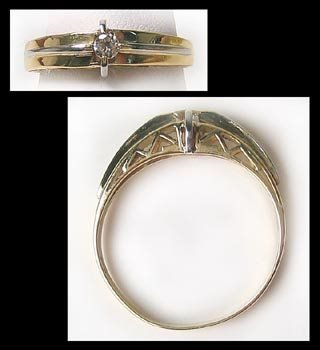 413: Nice mens gold diamond soiltaire ring