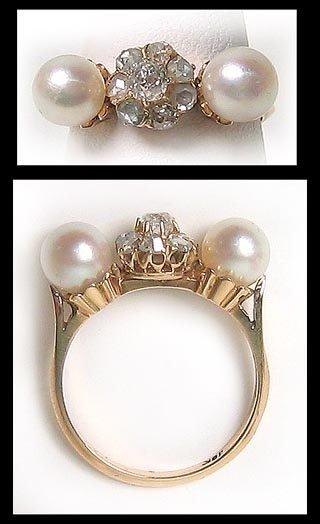 414: Unusual Antique Gold Diamond Pearl Ring