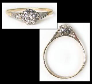 417: White Yellow Gold Diamond Solitaire