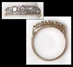 419: Gorgeous Art Noveau Diamond Gold and Platinum Ring