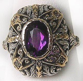 422: Antique 1880 Gold Amethyst Dinner Ring