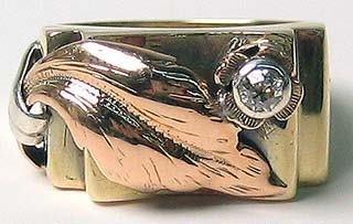 453: Gold Art Noveau Diamond Antique Ring