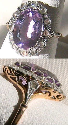 7458A: Gold and Platinum, Diamond and Amethyst ring