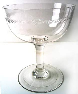 1940's Art Deco engraved glass compote and bowl