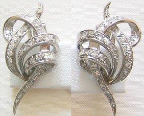 8527A: Unique Art Deco Platinum and Diamond earrings