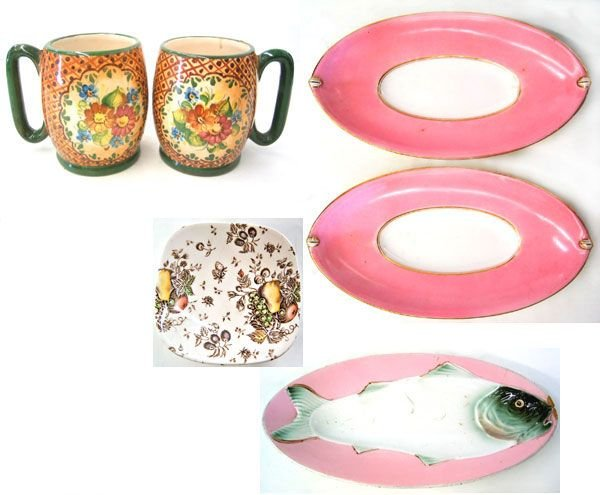 8951: Hand painted mugs plus china ALL 1 LOT