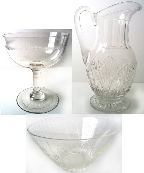 8958: 1940's Art Deco glass compote, bowl and pitcher