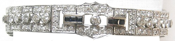 9600: Deco Platinum 8.4 CT Diamond Sapphire Bracele