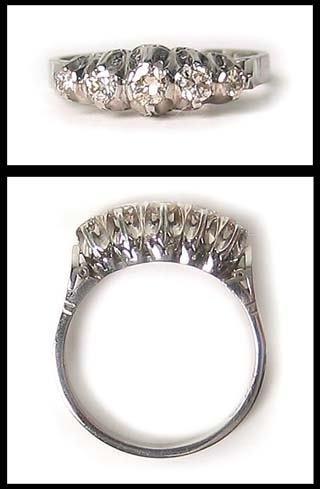 2472: Platinum 5 Diamond Anniversary Ring Band