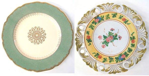 2968: Johnson Bros platter plus Signed ceramic wall pla