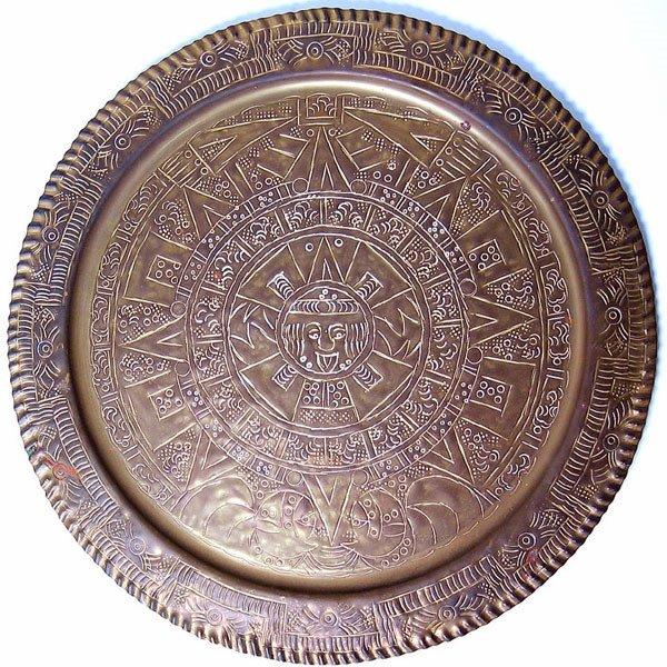 2974A: Brass Aztec Calendar