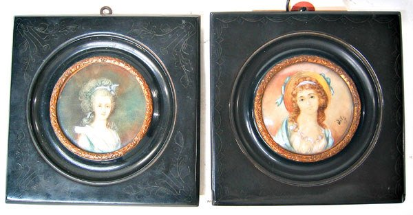 3081: Pair of signed ivory portraits