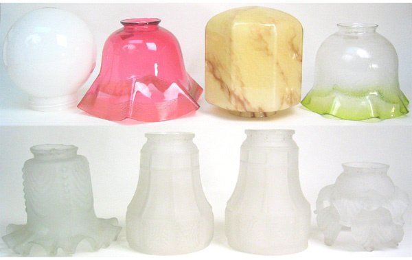 1001: Lot of assorted old glass shades