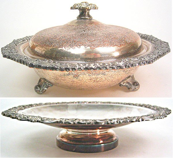1018: Silver plated center piece and silver plated cand