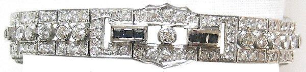 1363: Deco Platinum 8.4 CT Diamond Sapphire Bracelet
