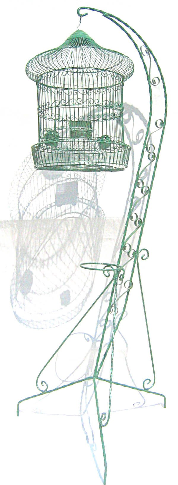 3009: Floor stand iron bird cage