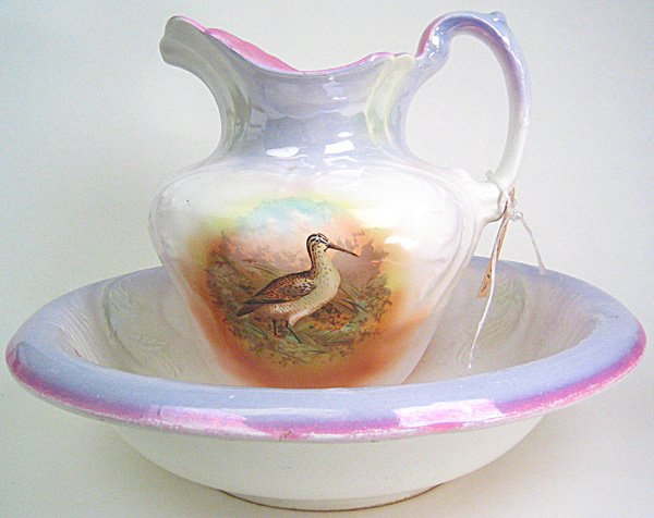 3096: Rare Porcelain wash basin and water pitcher