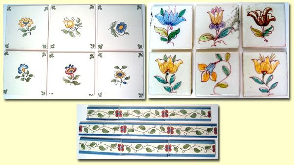 3009A: Lot of hand painted tiles