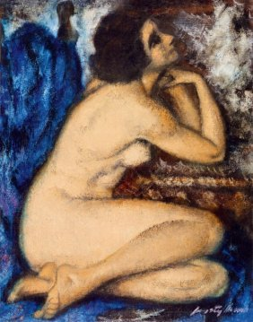 Feszty Masa, 1895-1979, Female Nude (the Blue Drapery)
