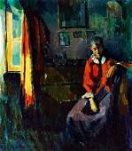 Nagy Oszkar, 1883-1965, The Red Coat (Modell in the