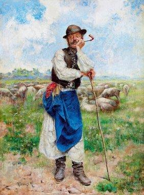 Rubovics Mark, 1867-1947, Shepherd With A Pipe