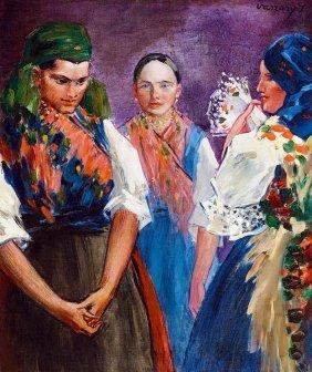 Vaszary Janos, 1867-1939, Girls In Folks Costume, C.