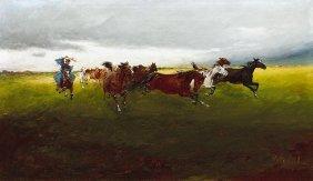 Pataky Laszlo, 1857-1912, Horses Gallopping