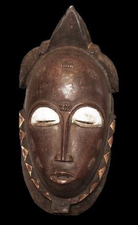 Ivory coast Baulè people Rare carved Wall mask. 4441