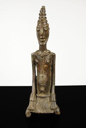 Mali. Bambara people. 1800/1850 Bronze statue of woman