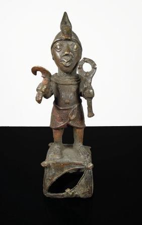 Benin. 1850 circa. Bronze statue of Ife Warrior. Finely