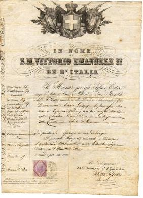 Italy 1875 Passport during reign Vittorio Emanuele II
