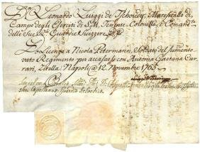 Ancient manuscript Naples 1765 signature de Tschoudy