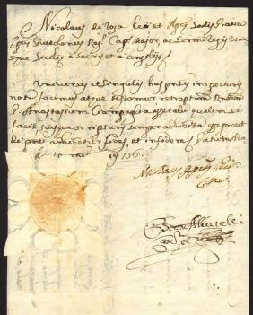 Naples 1762 Manuscript and signature Colonel Sanchez
