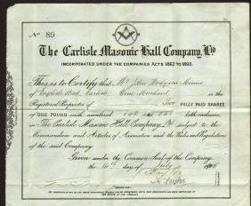 England Cumbria Masonic Hall 1895 Masonic document