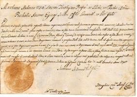 Ischia 1796 certificate manuscript Bishop Sansone
