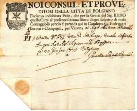 Republic of Venice 1770 Verona Transport certificate