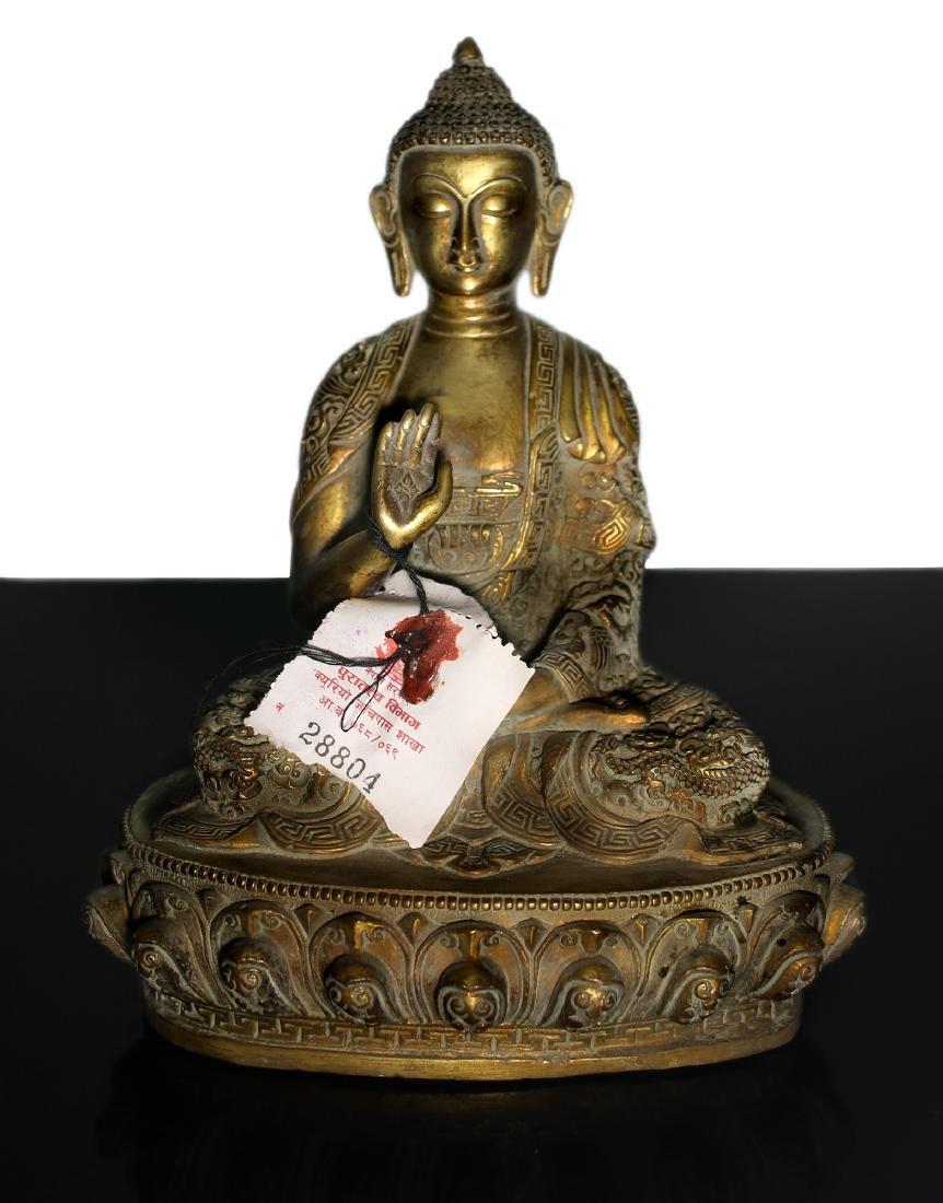 Tibet. Shakyamuni Buddha bronze statue. End of 1800.