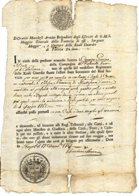 1765 Manuscript sign. Marquis Arezzo General Infantry